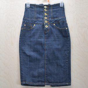 Tummy Control High Waist  Denim Pencil Skirt S
